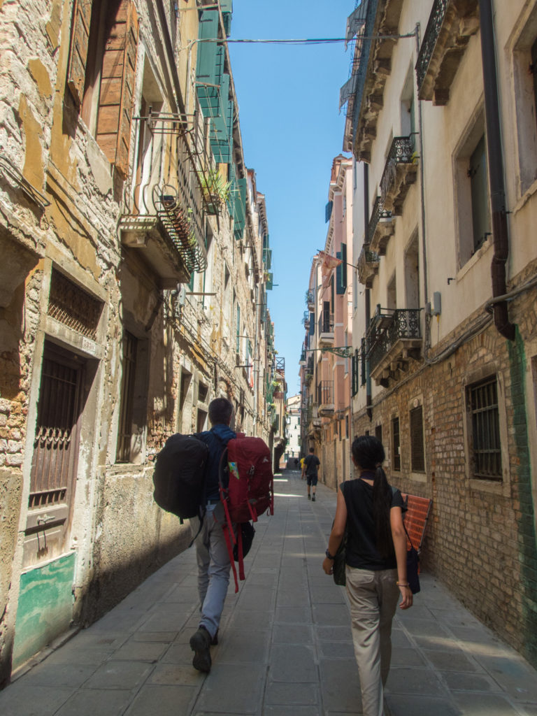 Walking to B&B in Venice