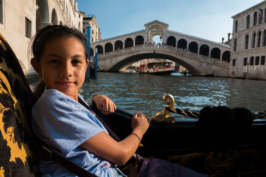 On Gondola by the Rialto Bridge