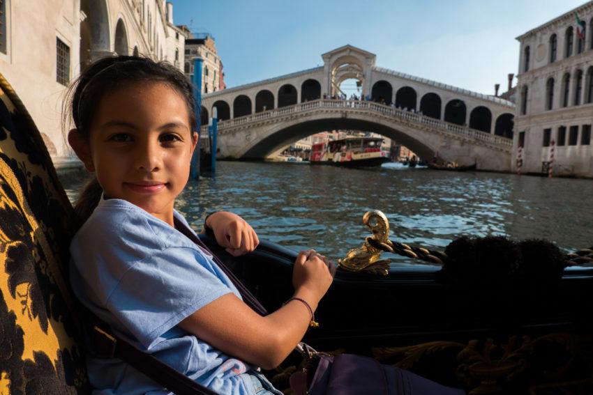 On Gondola by the Rialto Bridge