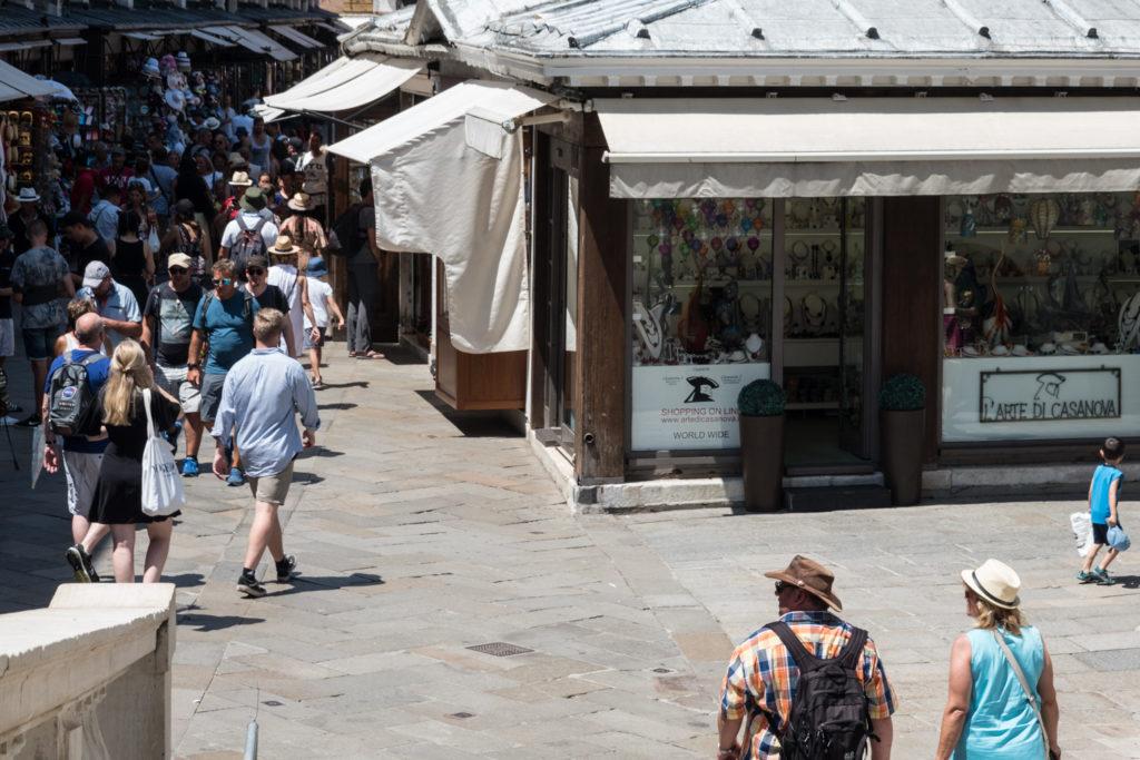 Shop next to Rialto Bridge where we bought our Murano glass figurine