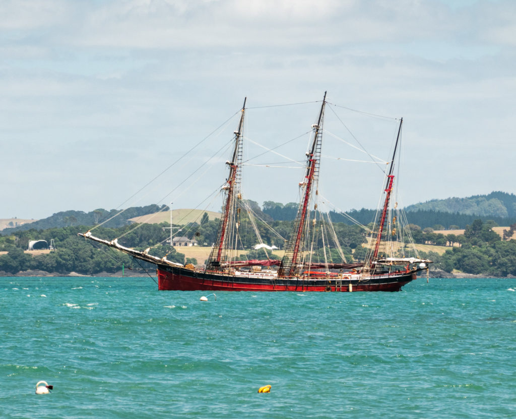 Ship, Waitangi in background, from Russell